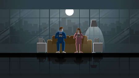 Man and woman couple sit on sofa and use smart phone in house living room. Husband and wife in the dark and light from full moon and lamp.  Idea illustration concept relaxation and romantic scene. 向量圖像