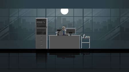 Senior medical man intend working on desktop computer in doctor office workplace. Alone in dark and full moon light. Career lifestyle of work hard overtime overwork. Idea illustration concept scene.