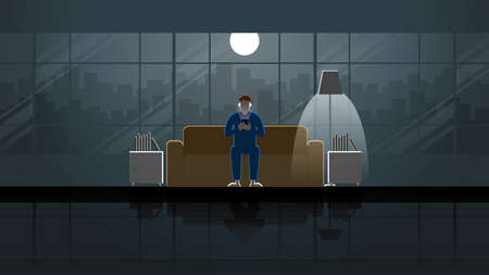 A man sitting on sofa and use smart phone in house living room. Alone in the dark and light from full moon and lamp. Lonely people city lifestyle relaxing after work. Idea illustration concept scene.