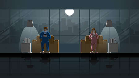 Eye contact scene of divorced couple separate sit on sofa and use smart phone in house living room. Husband and wife in the dark and light from full moon and lamp. Idea illustration concept vector. 向量圖像