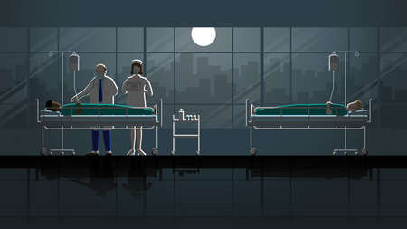 Senior doctor and nurse intend working check up sick patient sleep on bed in hospital. Night in dark and full moon light. Career lifestyle of work hard overtime overwork. Idea  medical concept scene.