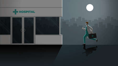 Enthusiastic vector concept. Responsibility doctor run to hospital at night outdoor. Rush hour medical lifestyle emergency case in dark and full moon light. Occupation of work hard overtime overwork. Illusztráció