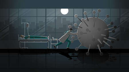 Doctor fight against disease by stop the virus before it destroy patient at night in hospital ward. Career lifestyle of work hard overtime overwork. Medical Idea illustration protection concept scene.