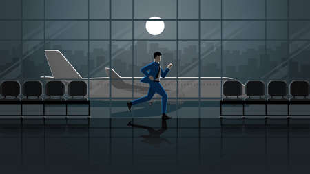 Hurry up urgent concept of Businessman run for flight in international airport terminal at dark night and full moonlight. Business trip city lifestyle of work hard overtime and overwork occupation.