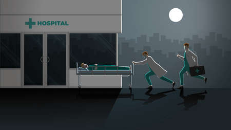 Emergency concept. Two doctors run and push sick patient sleep on bed to hospital at night. Rush hour medical lifestyle urgent case in dark and full moon light. Career of work hard overtime alltime.