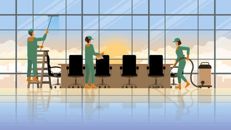 Cleaning service team working at office meeting room in early morning sunrise. Occupation lifestyle professional service before re-opening business hours for work. Vector Illustration concept idea.