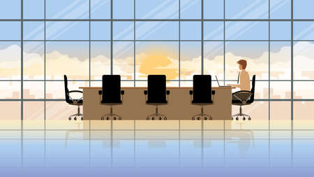 One person. Employee laptop working in company workplace meeting conference room. Professional occupation office people city lifestyle of work hard overtime overwork. Alone in early morning sunrise. Vektoros illusztráció