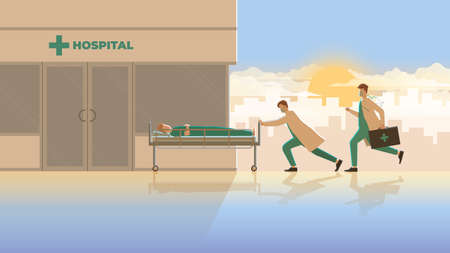Medical concept scene of the urgent medical emergency case. Two doctors run and push sick patient sleep on bed to hospital building in early morning sunrise. Career of work hard and responsibility.