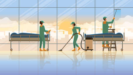Cleaning service team maid working at morgue room hospital with corpse in the early morning sunrise. Daily routine career lifestyle of diligent work hard overwork lifestyle professional service hours.