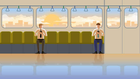 Love at first sight concept of LGBT between males in train public transportation at the early morning sunrise. Daily routine city lifestyle of employee people in town. The orange light romantic scene. 矢量图像