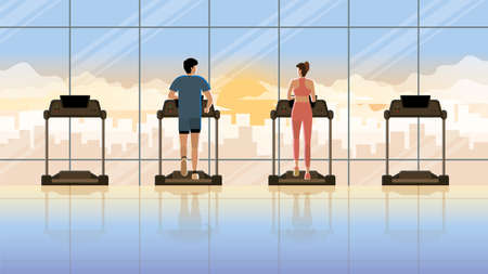 Love at first sight between man and woman running on treadmill at fitness center in early morning sunrise. Everyday daily routine of active healthy people city lifestyle of diligent cardio exercise.
