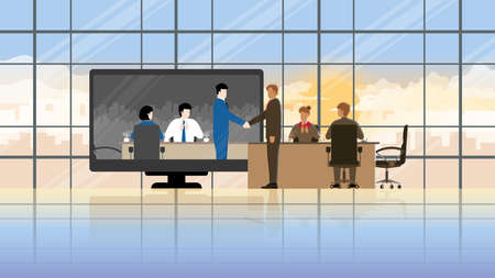 Online business partner in difference time zone concept. Joint venture in teleconference meeting room from workplace to another office. Greeting businessman handshake with team employee agreement. 일러스트