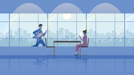 Businessman runs with gift box outdoor for dinner with a woman that using smartphone and waiting in a restaurant at night with full moon. City lifestyle of be late business people work hard over time.