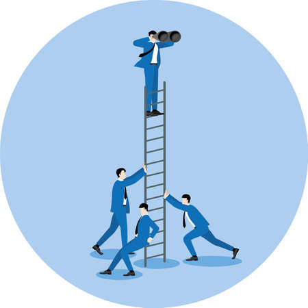 Business concept of partnership, teamwork, fight together and team back up. Businessman use binoculars looking for a business opportunity on the highest ladder. Supporting by colleagues office people.