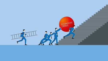 Business economic crisis concept of partnership, teamwork, fight together and team back up. Businessman carry a big red ball and step up a stair. Supporting by work hard colleagues office people.