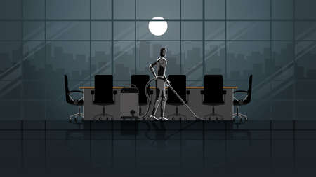 Robot replace human. Artificial intelligence mechanism clean and work in the office meeting room for 24 hours in the dark and full moonlight without people. unemployment human for a job in the future.