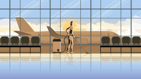 Technology concept of Robot replace human. Artificial intelligence mechanism cyborg clean in an airport terminal for 24 hours in early morning sunrise without people. Unemployment for a job in future.