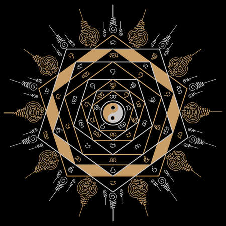 Yantra tattoo design from the religious belief that inherited from ancient to be applied as a circular pattern graphic design but still has meaning, alchemy, good luck, invincible worship and fortune.