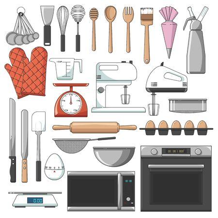Liste der wichtigsten Bäckereiausrüstungen Vektor, Icon Pack