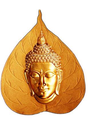 cabeza de buda: Estatua Budha es sonrisa en hojas de poe Foto de archivo