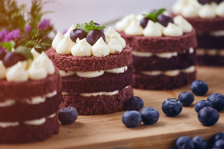 Row of four brown cakes with blue berry on top placing together pink flower and berry as decorated item on the wooden plate