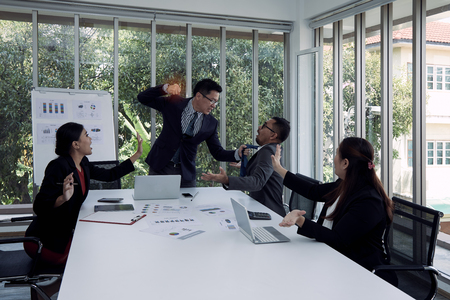 Senior manager is angry with assistant manager missing the agreement and punching; business conflict concept