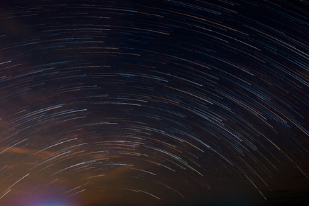 Star tail as light line on night sky by star stax from multi shooting picture