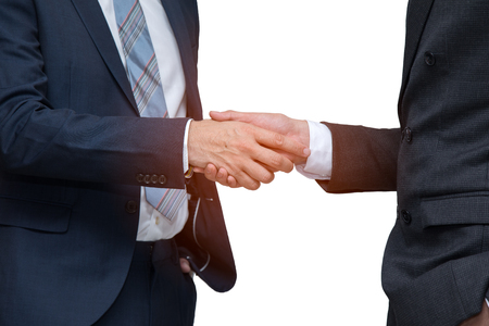 Two businessmen shaking hand together on white background; cooperation business with partnership