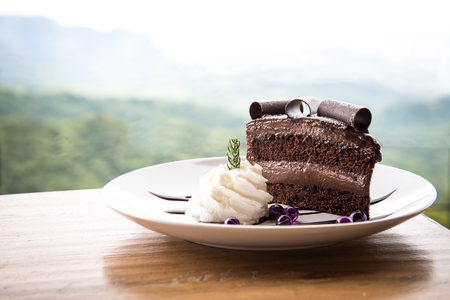 Delicious black chocolate cake with whip cream on white disk placing on wooden table Stok Fotoğraf - 122672384