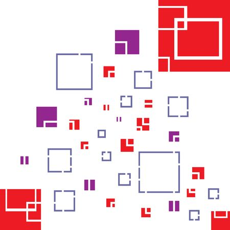 Abstract Red, purple Square shape Background with cutting white line on white background
