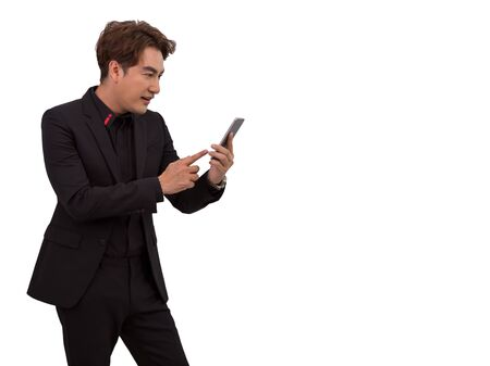 Senior Asian businessman make a call by mobile phone on white background with clipping path