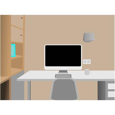 Design of modern office designer workplace space in house; Work at home concept Ilustração