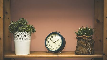 Blue metal clock at 10 AM placing on shelf together with branch of flower with copy space Banco de Imagens