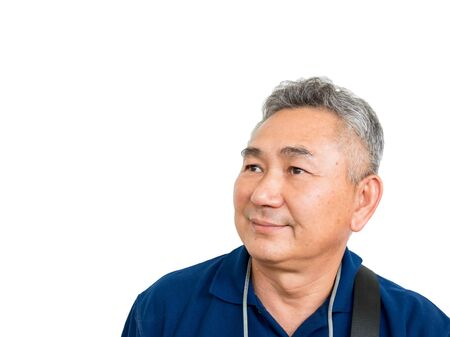 Old Asain man feel happy and smiling on white back ground with clipping path