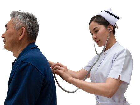 Asian Nurse listen to elderly patient's breath sound with Stethoscope at Back on white background with clipping path