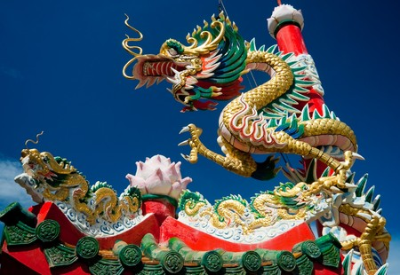 godliness: chinese dragon on oriental temple roof