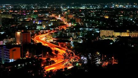 Nacht uitzicht van Pattaya city, Thailand   Stockfoto