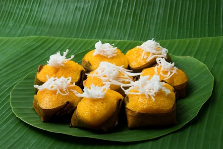 Dessert Thai sweet sugar palm cake with Coconut  photo
