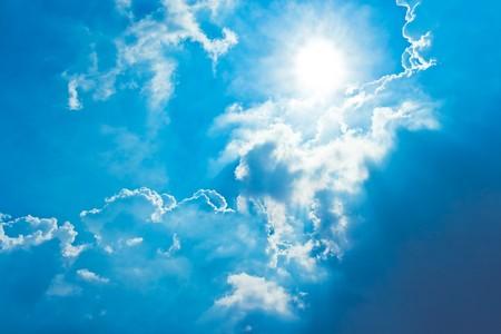 sun shine in blue sky  photo