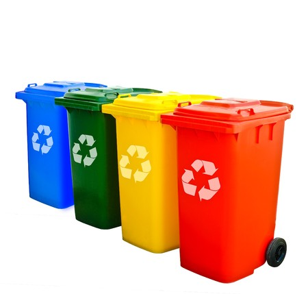 Colorful Recycle Bins Isolated  photo