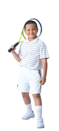 Young boy with tennis racket and ball isolated  Young boy with tennis racket and ball isolated  photo