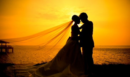 Romantic silhouette of wedding couple at sunset  Stockfoto