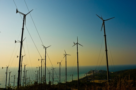 Wind turbines farm  at sunset,Pattaya Thailand Stock Photo - 8791538