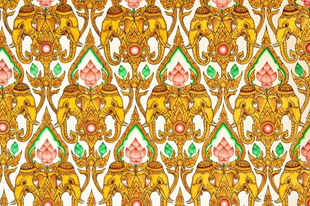 Thai Pattern Design on wall ,Traditional Ornament Paint on Temple wall Stock Photo - 8791554