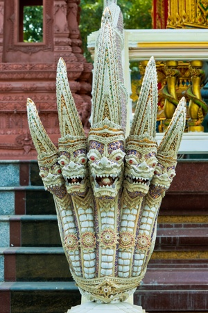 King of Nagas next ladder in Thai temple,Thailand photo