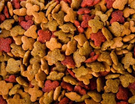 an image of dry pets food background, horizontal Stock Photo