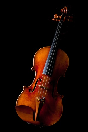 Beautiful vintage violin on black background Stock Photo
