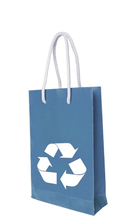 Blue recycle paper shopping bag over white floor Stock Photo - 10518302