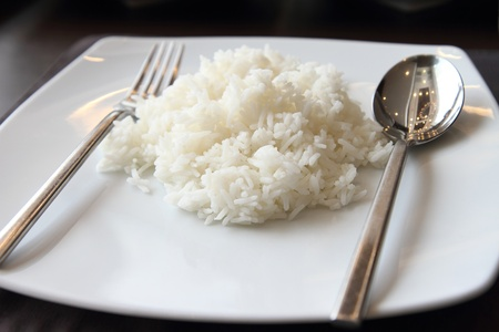 White steamed rice on white dish Stock Photo