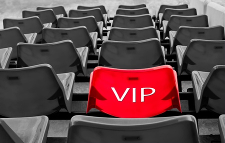 many black and red vip seat in football stadium  Stock Photo